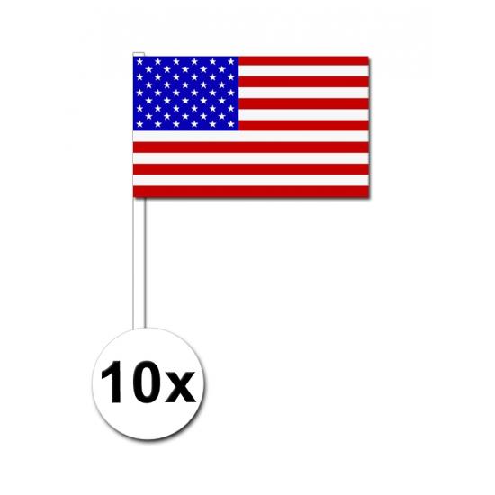 10 zwaaivlaggetjes Amerikaanse vlag