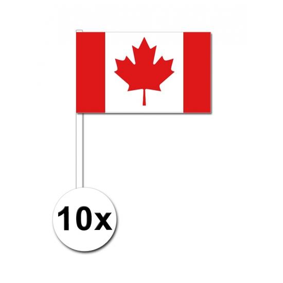10 zwaaivlaggetjes Canadese vlag