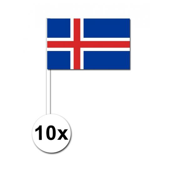 10 zwaaivlaggetjes IJslandse vlag