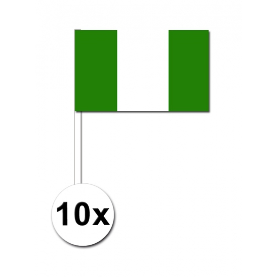 10 zwaaivlaggetjes Nigeriaanse vlag