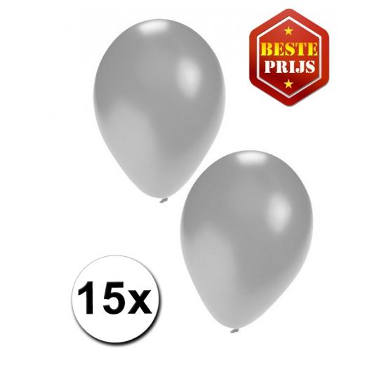 15 Party ballonnen zilver gekleurd