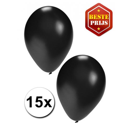 15 Party ballonnen zwart gekleurd