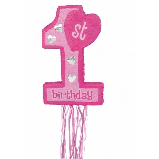1e verjaardag pinata roze