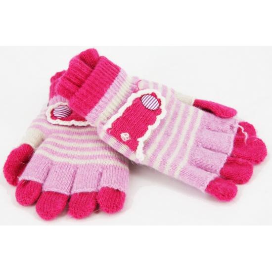 2 in 1 kinder handschoenen roze