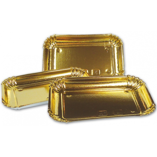 3 kartonnen schalen in de kleur goud