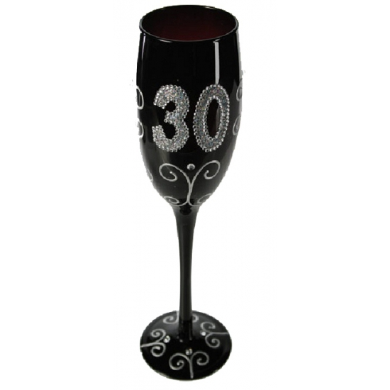 30e verjaardag zwart glitter glas