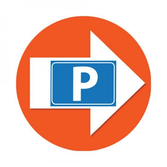 4 stuks oranje pijl en P logo sticker