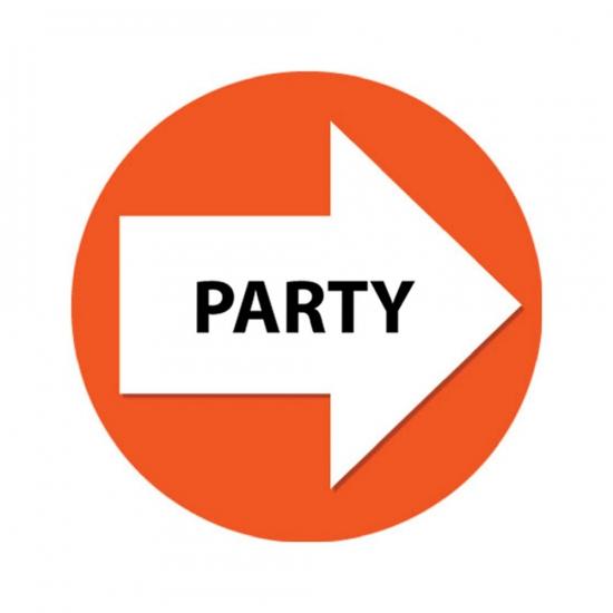 4 stuks oranje pijl en party sticker
