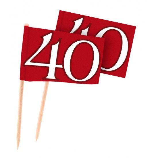 40 jaar jubileum cocktailprikkers rood