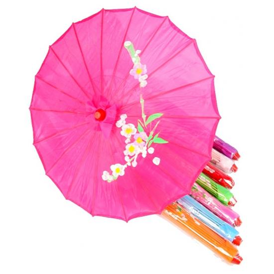 Aziatische paraplu met bloemen groot