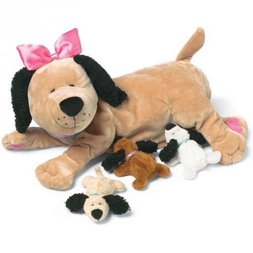 Baby hondjes met mama 25 cm
