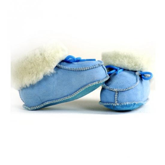 Baby leren slofjes babyblauw