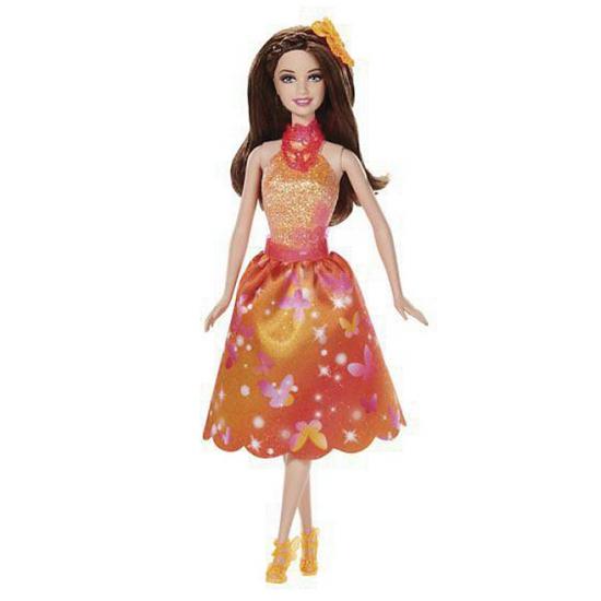 Barbie in oranje cocktailjurkje