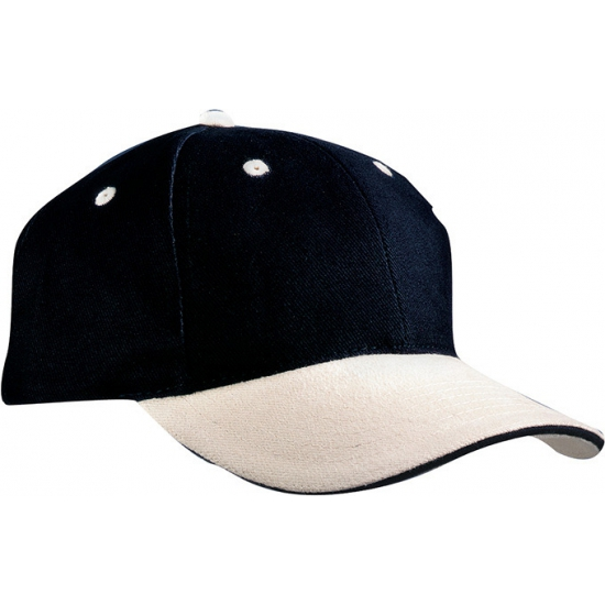 Baseball cap zwart beige
