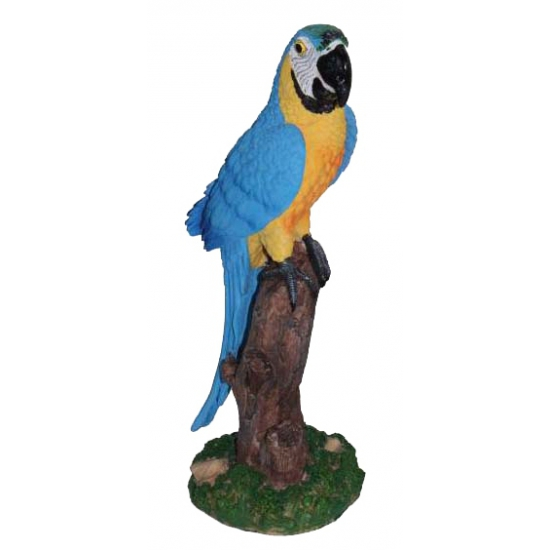 Blauw beeldje papegaai 32 cm