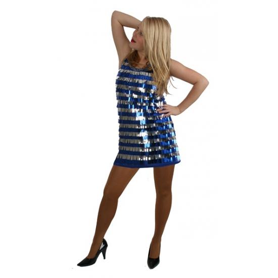 Blauw jurkje met pailletten pijpjes