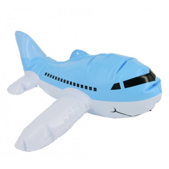 Blauw opblaasbaar vliegtuigje 30 cm