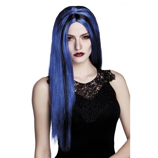 Blauw zwarte heksenpruik voor dames
