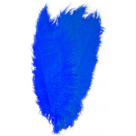 Blauwe decoratie veren 50 cm