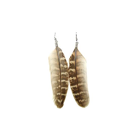 Bruine indianen oorbellen met veer
