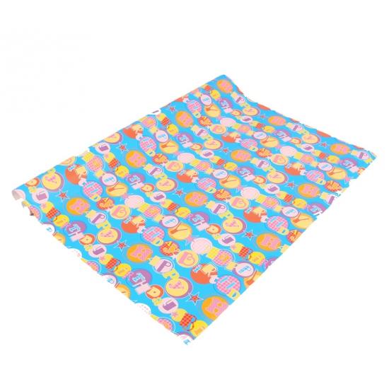 Cadeaupapier blauw met letters 70x200 cm