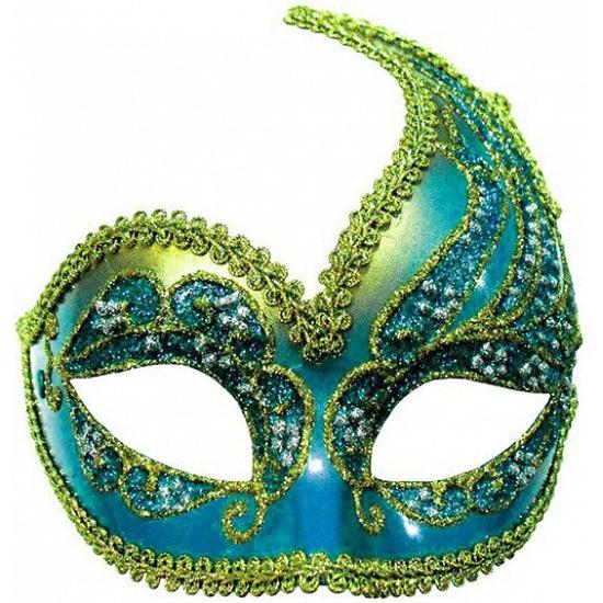 Carnaval oogmasker blauw en goud