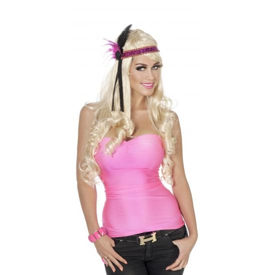 Carnavals topje neon roze