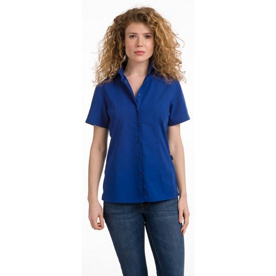 Casual dames overhemd blauw kort mouw