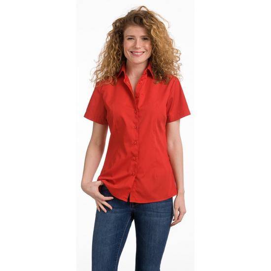 Casual dames overhemd rood kort mouw