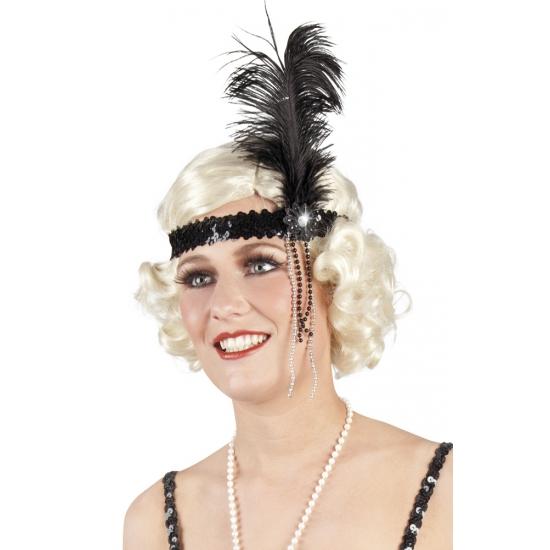 Charleston hoofdband zwart met veer