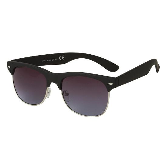Clubmaster zonnebril matzwart