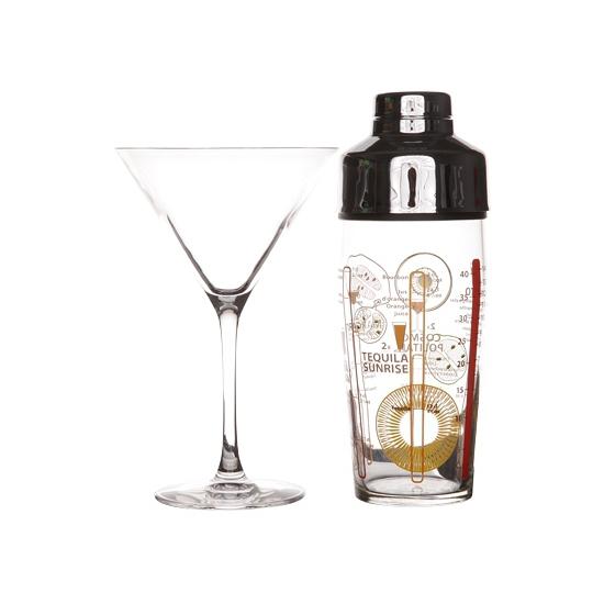 Cocktailshaker setje met 4 glazen