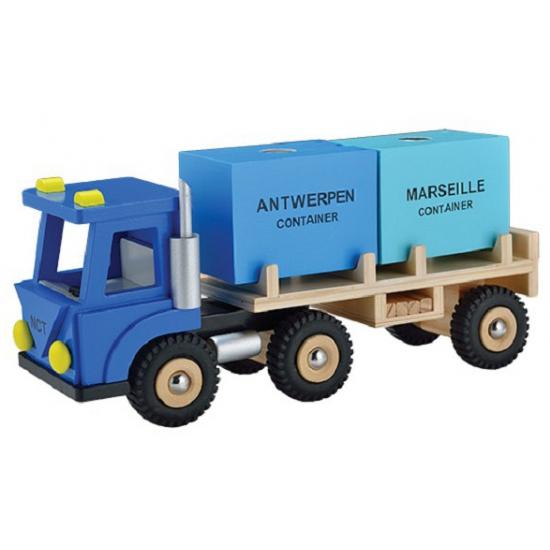 Container vrachtwagen blauw