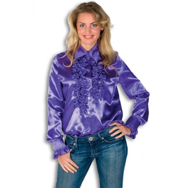 Dames overhemd paars met rouches