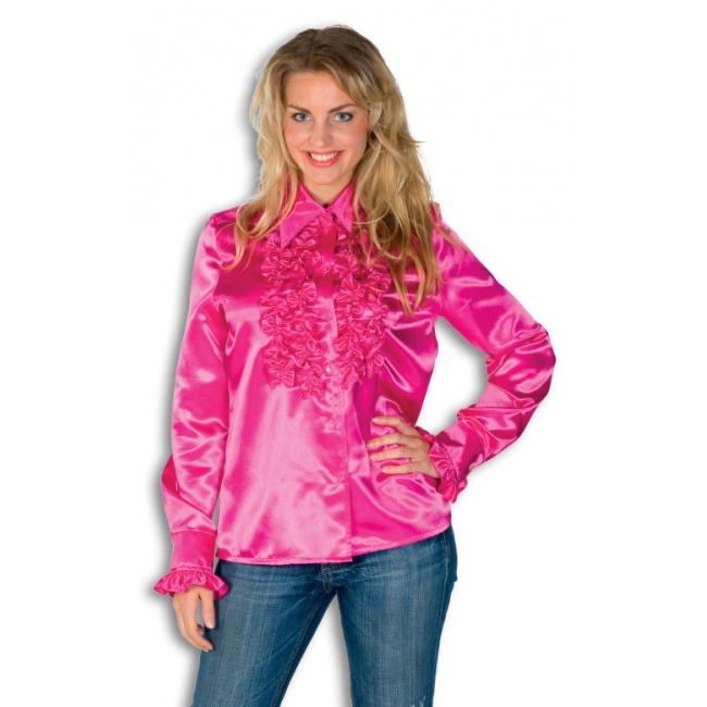 Dames overhemd roze met rouches