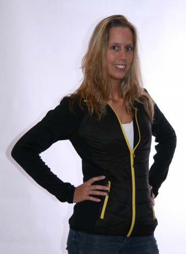 Dames stretch fleece jas zwart met geel
