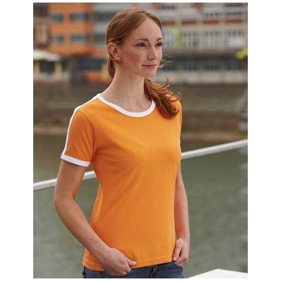 Dames t shirt oranje met wit