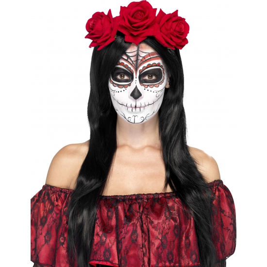 Day of the Dead haarband rood