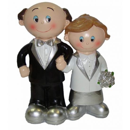 Decoratie bruidspaar zilveren huwelijk