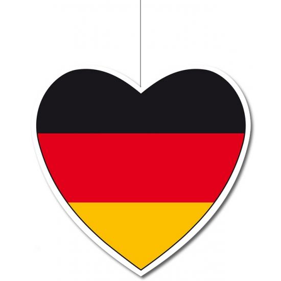 Decoratie hart met Duitse vlag 14 cm