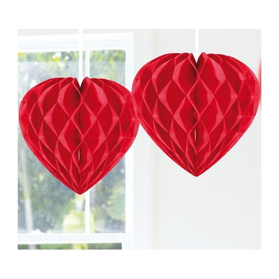 Decoratie harten rood 30 cm