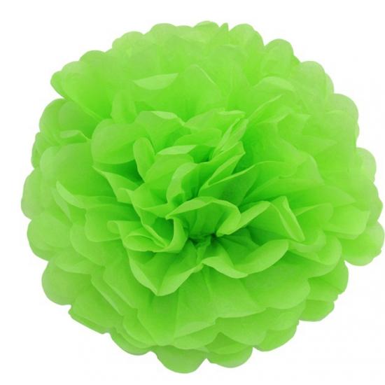 Decoratie pompom lime groen 35 cm