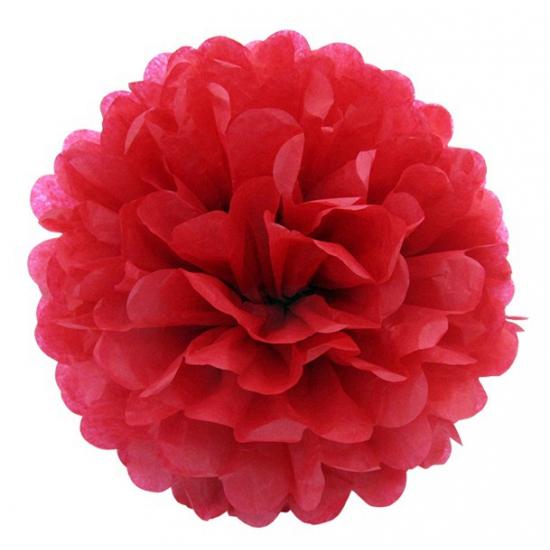 Decoratie pompom rood 25 cm