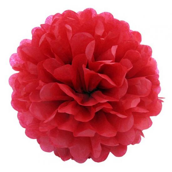Decoratie pompom rood 35 cm