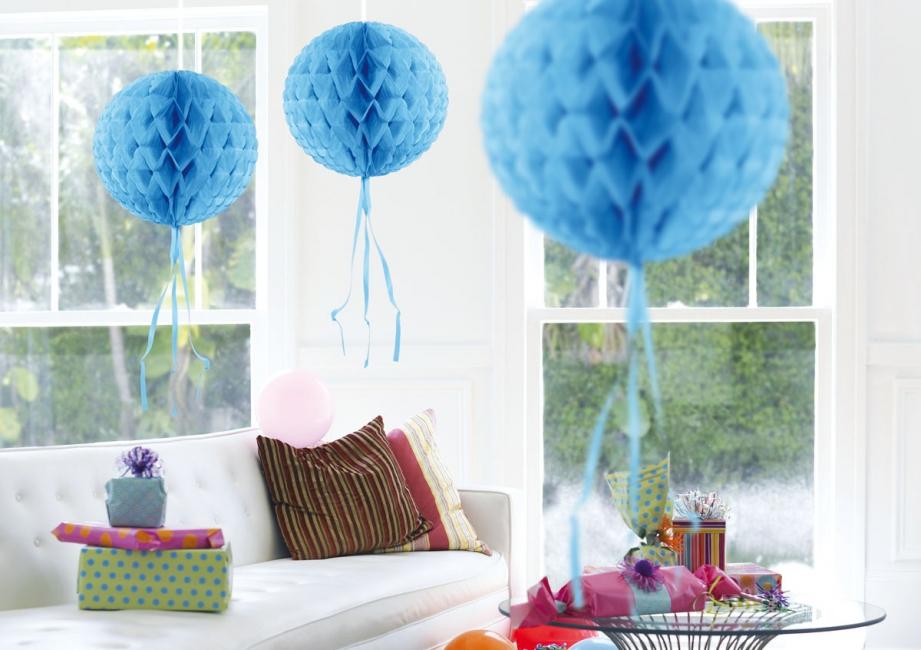Decoratiebollen baby blauw 30 cm