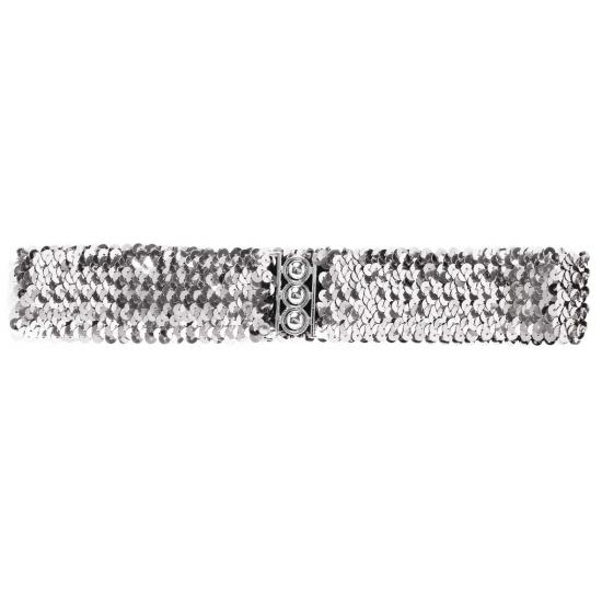 Disco glitter riem zilver 62 cm