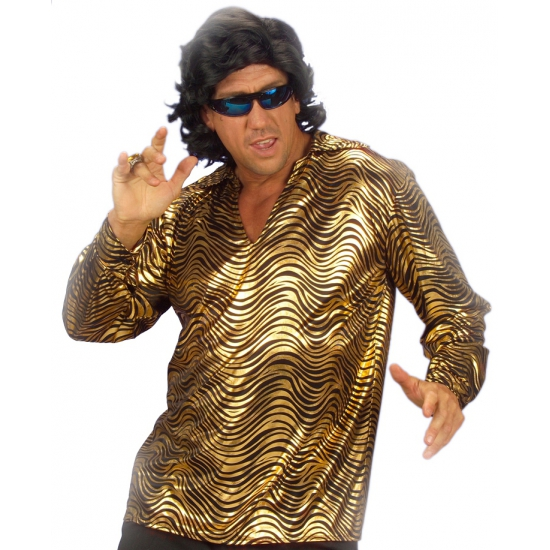 Disco shirt goud voor heren