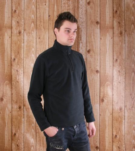 Donkergrijze fleece trui voor heren met ritskraag