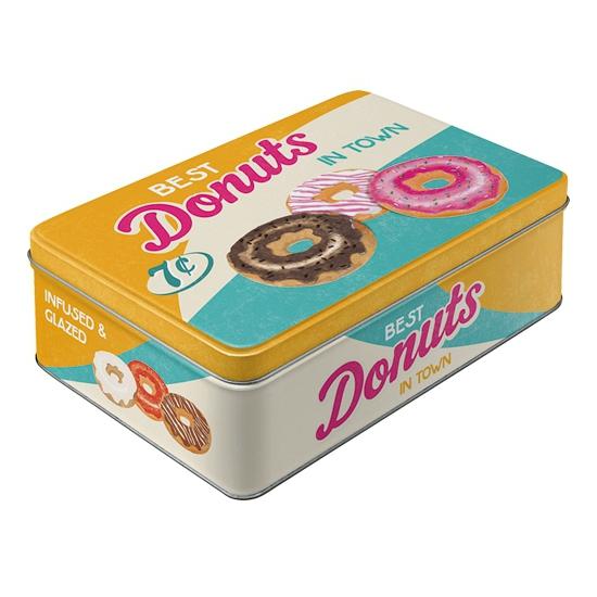 Donuts bewaarblik van metaal 23 cm
