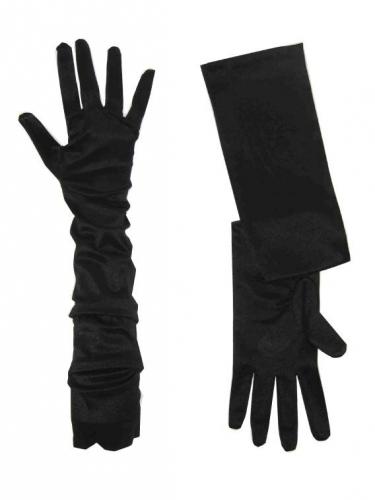 Extra lange zwarte handschoenen voor volwassenen